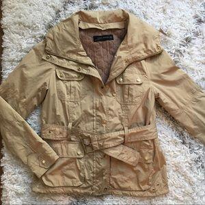 Zara Beige Utility jacket with belt & gold accents